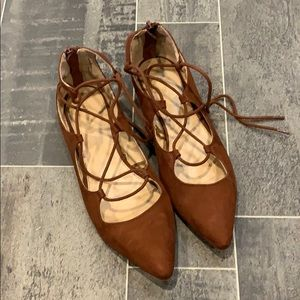 Chocolate Brown Lace-up Flats